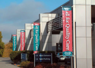 Large pole banners announce this hospital's superior ranking.