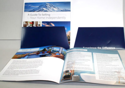 A booklet with a coordinating, custom pocket folder.