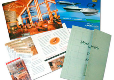 Several styles of eye-catching brochures.
