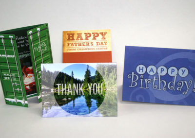 Custom greeting cards printed on card stock and folded.