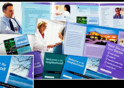 A collection of marketing pieces for a health care facility.