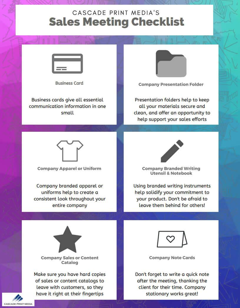 Cascade Print Media's Sales Meeting Checklist